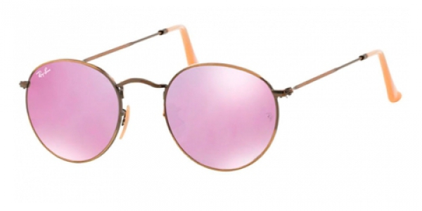 Ray-Ban Round Metal RB 3447 167/4K Sonnenbrille in demiglos brushed bronze 50/21 cCbBRN